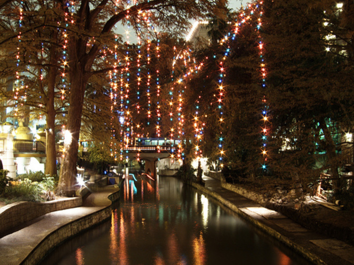 San Antonio River Walk with Christmas Lights