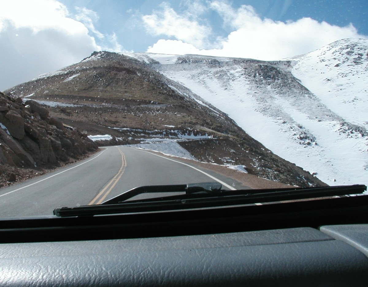 We come to snow as we gain altitude on Pike's Peak Road.
