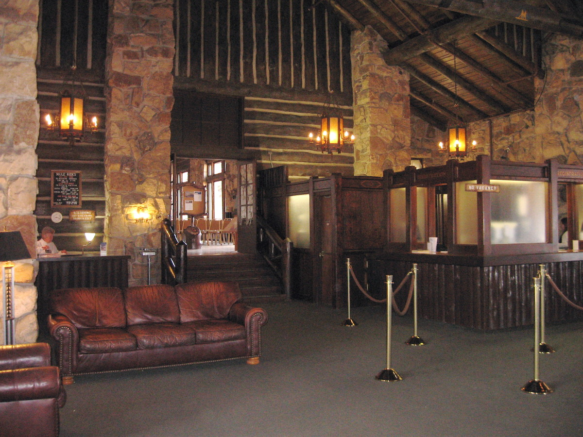 The lobby at the Grand Canyon Lodge.  Just beyond the lobby are the light-filled lounges overlooking the canyon rim.