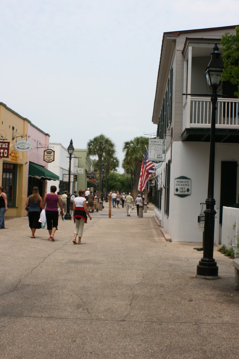 A view down St. George Street in the historic district of St. Augustine.