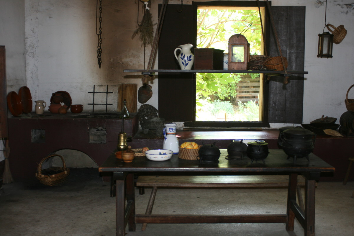 View of a colonial kitchen at the Colonial Spanish Quarter.