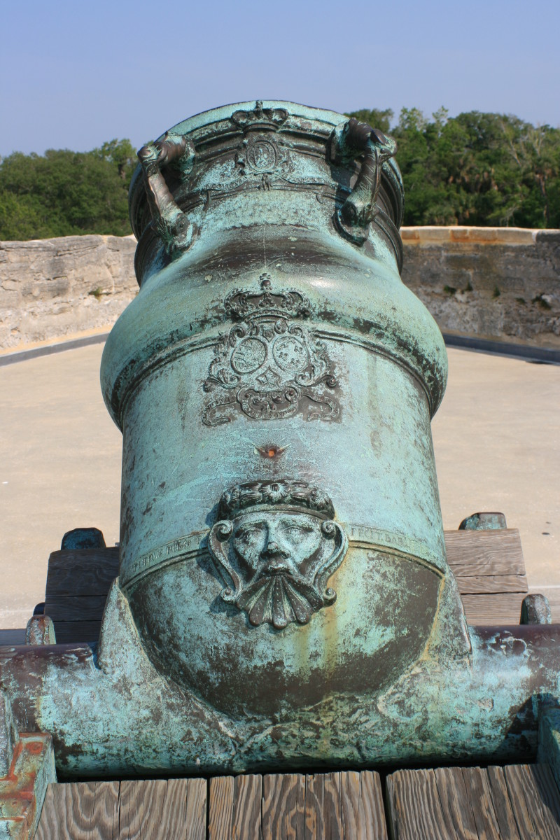 An antique mortar on the top of the Castillo de San Marcos.