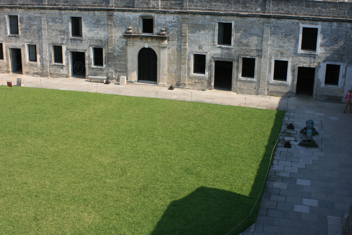 The inner courtyard of the Castillo de San Marcos.