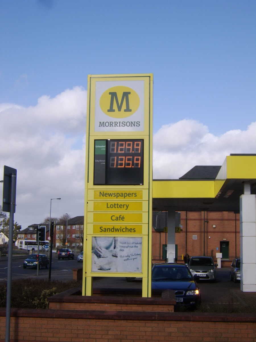 Typical petrol (gas) prices in Scotland, March 31st 2011.