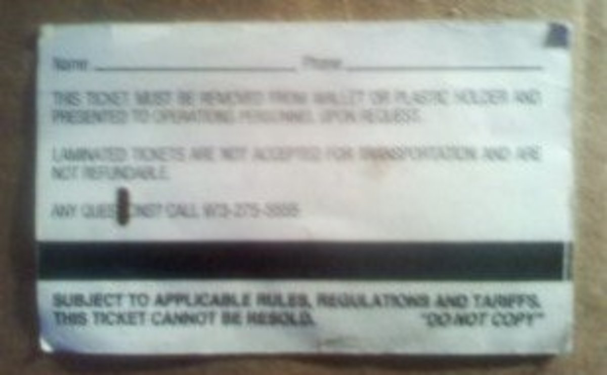 Back view of NJT monthly bus pass