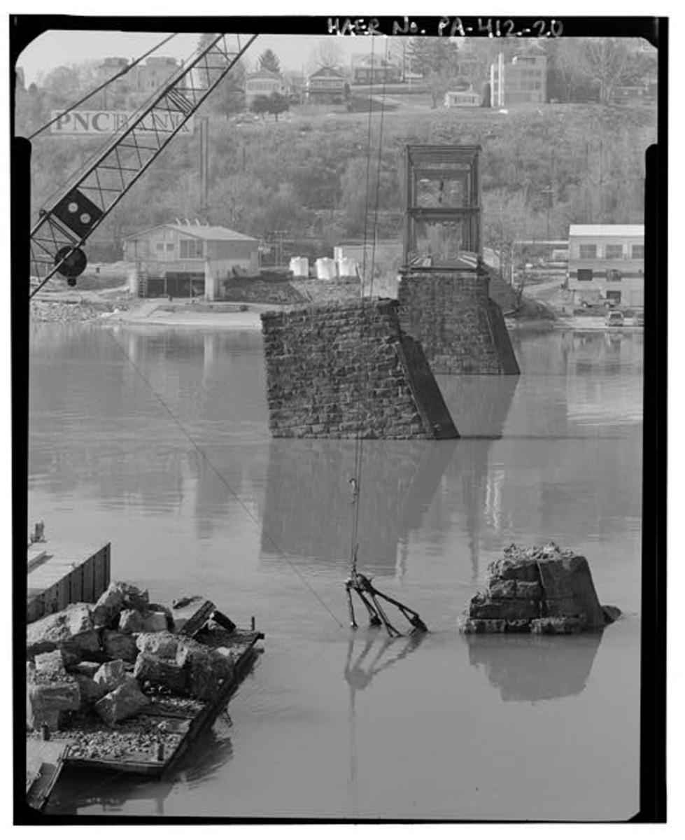 Damage to the Walnut Street Bridge after the 1996 blizzard and flood