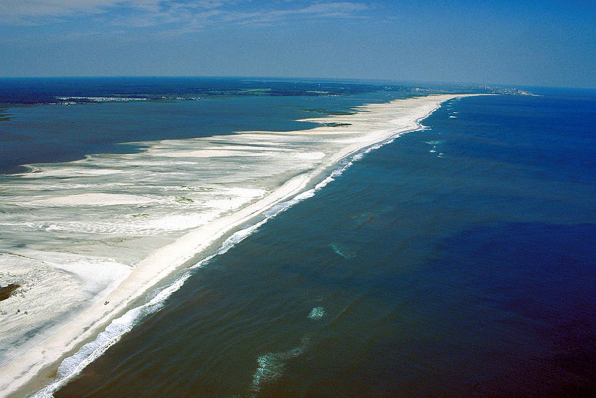 Aerial view of Assateague Island