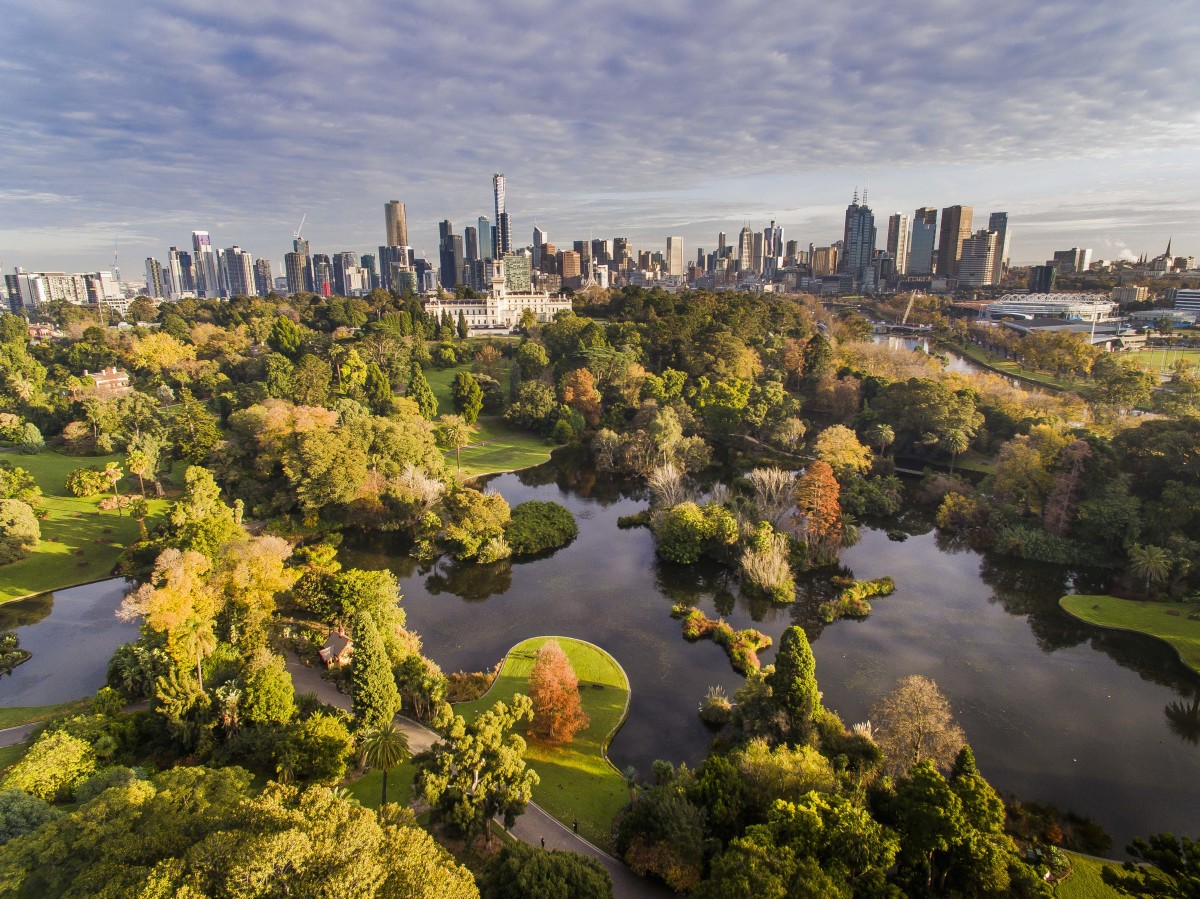 An aerial view of the Royal Botanic Gardens in Melbourne.