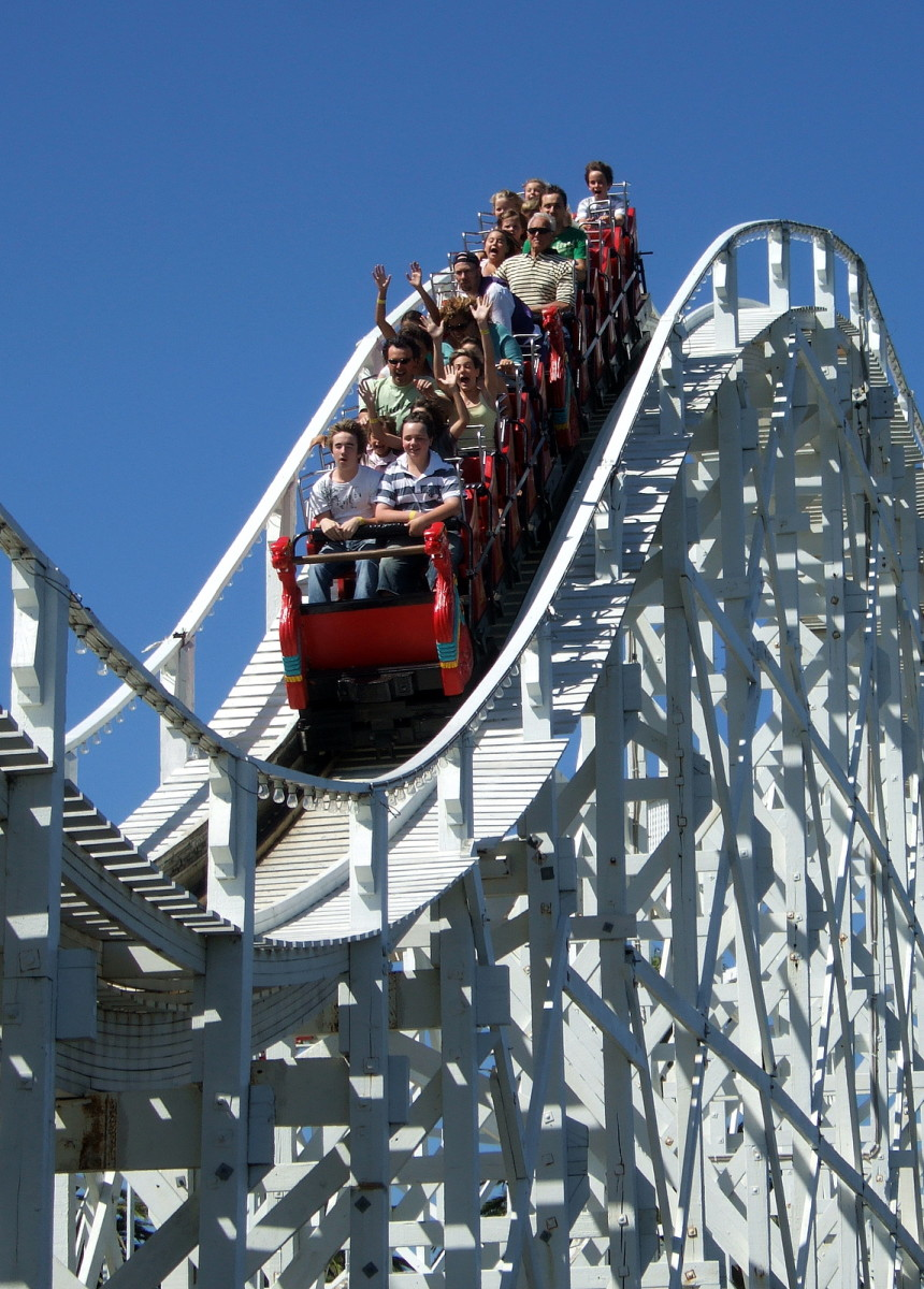 The Scenic Railway in Luna Park is the world's oldest operating roller coaster. Note the brakeman in the middle of the carriage.