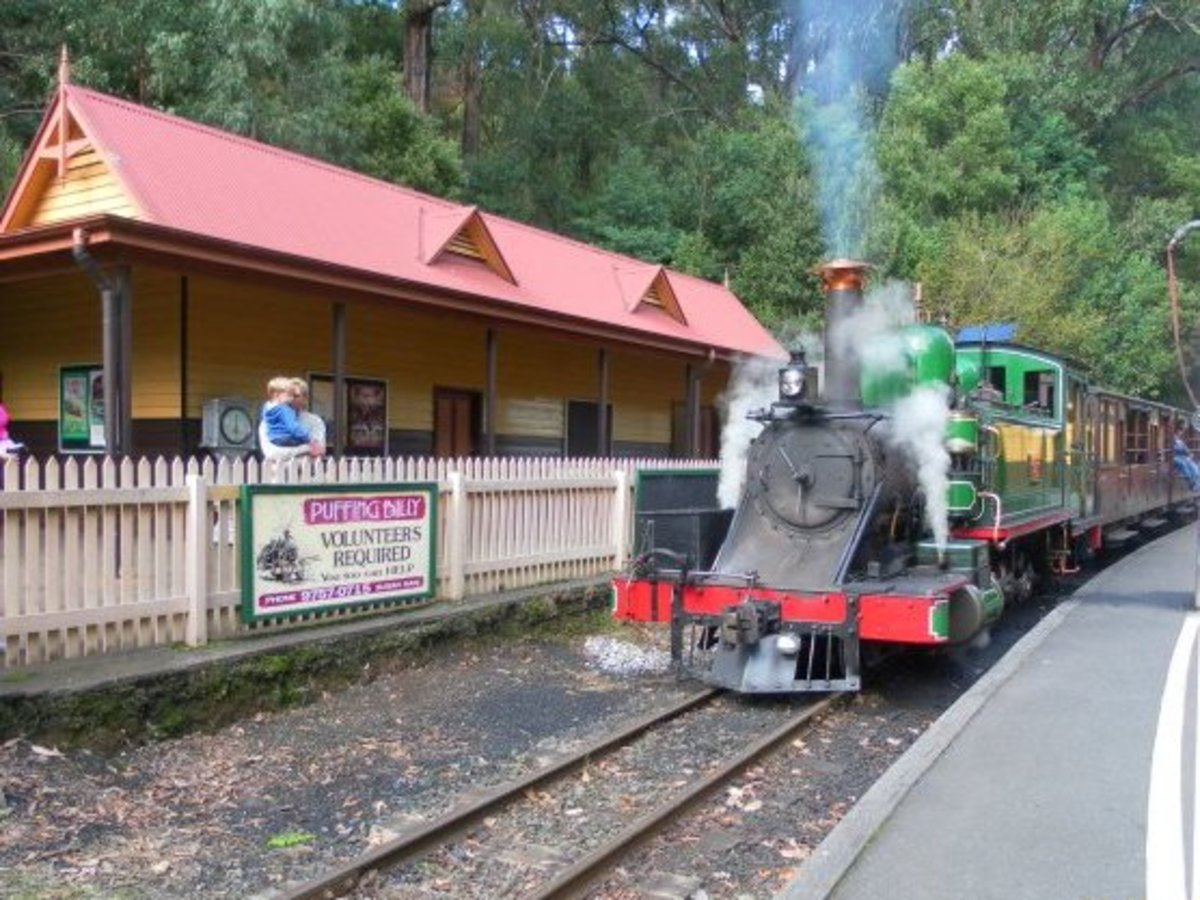 Puffing Billy at Lakeside Station.