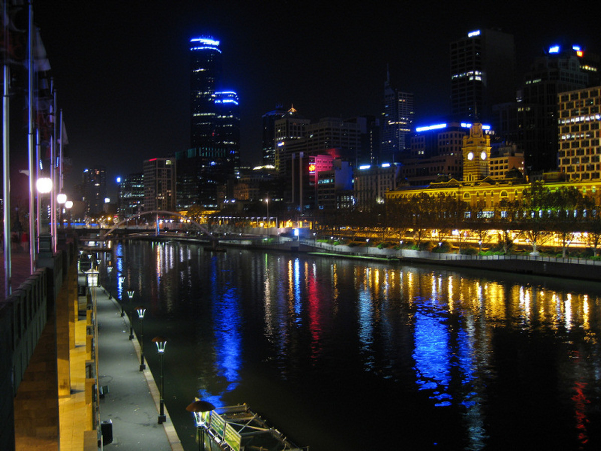 The Yarra River at night.