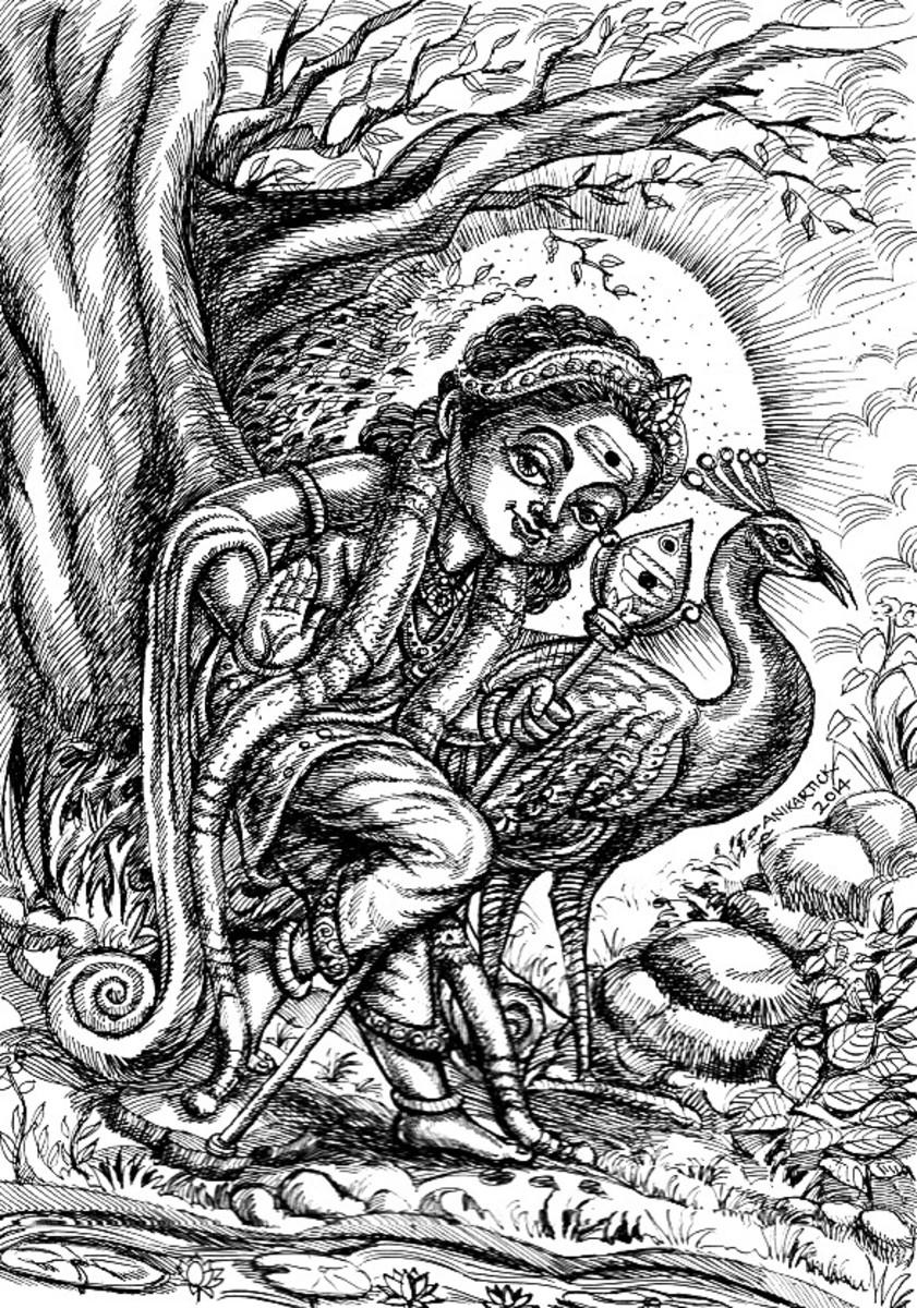 Lord Murugan Pen drawing