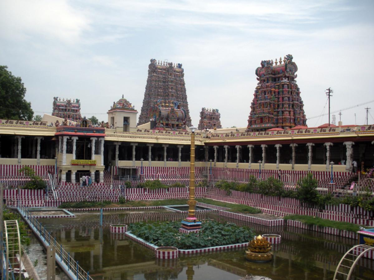 Una vista desde el interior del templo Meenakshi, Madurai