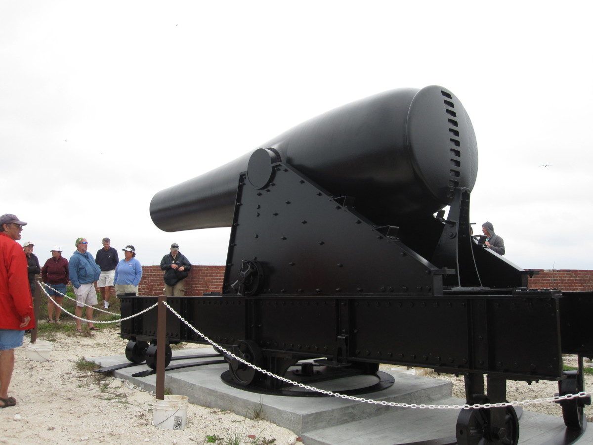 A big gun on display on the parapet