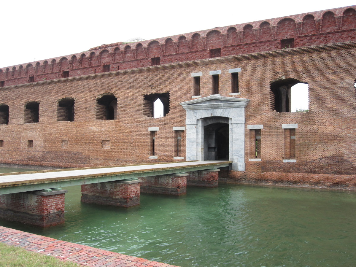The moat and entrance to Fort Jefferson