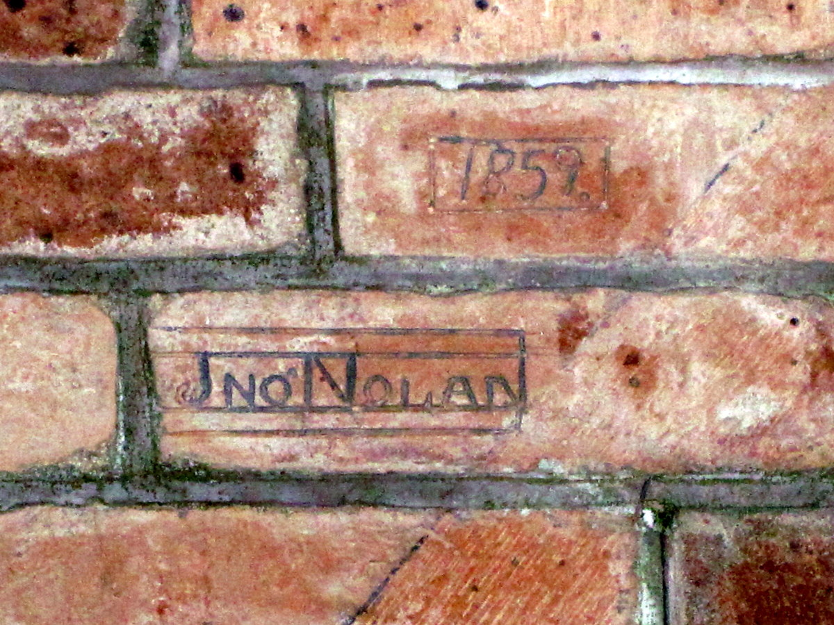 The master bricklayer's signature on the ceiling of the chapel