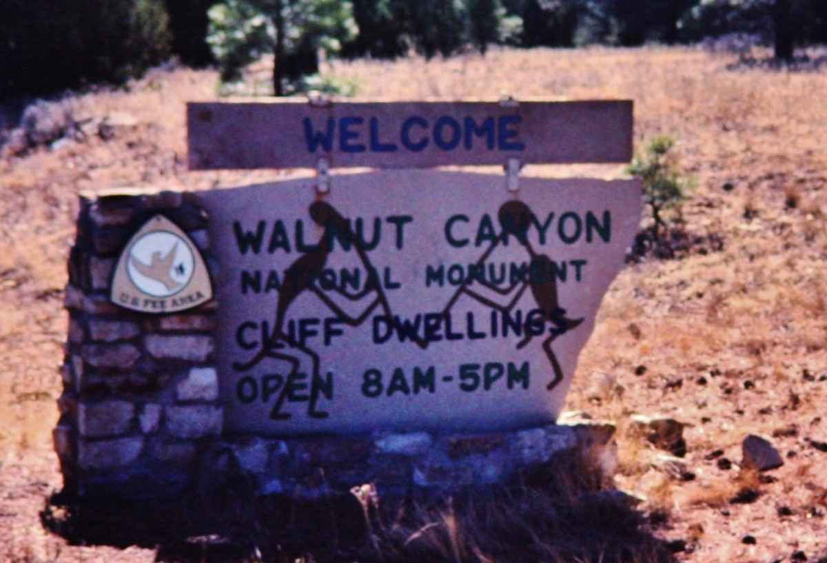 Welcome Sign near Walnut Canyon National Monument