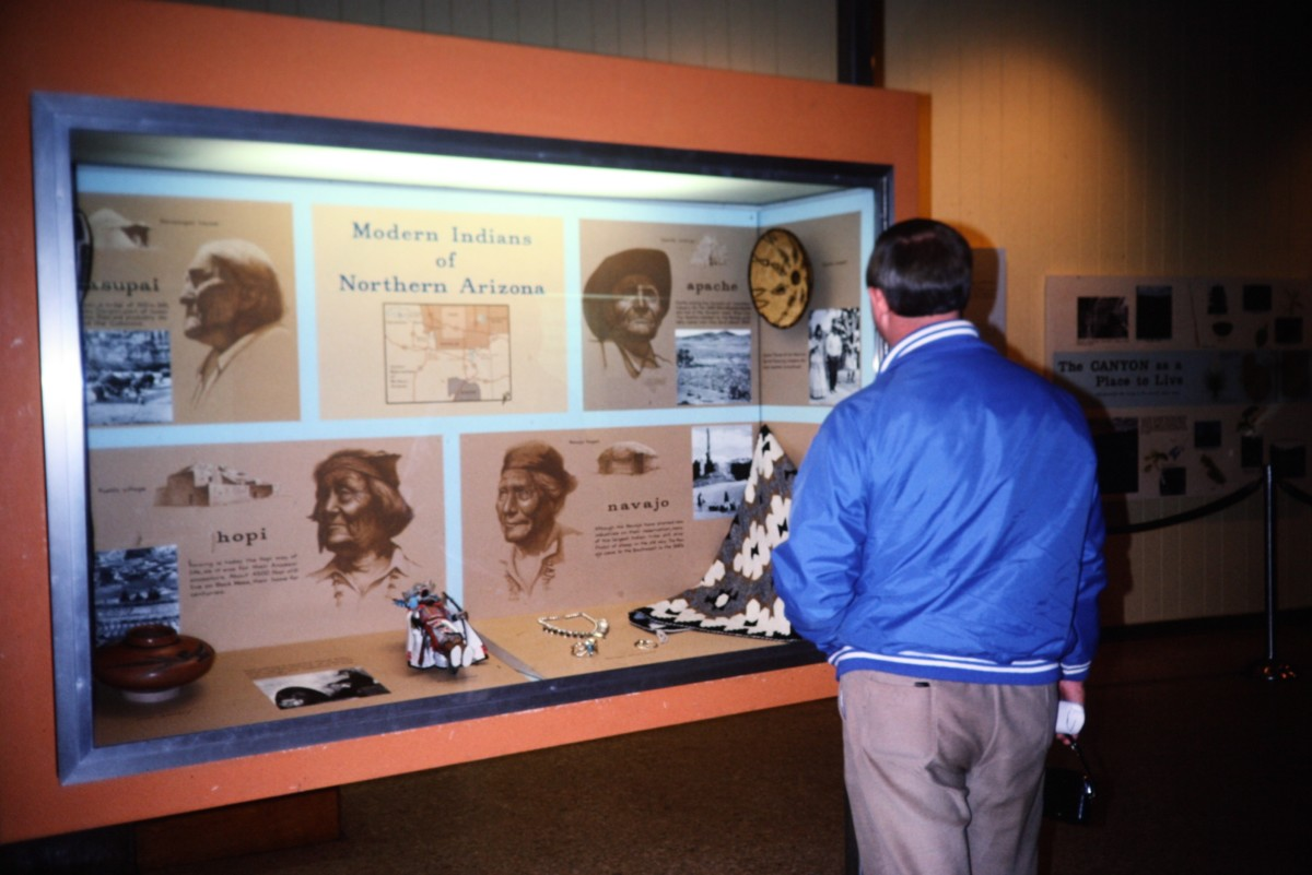 My hubby looking at exhibits at the Walnut Canyon visitor center.
