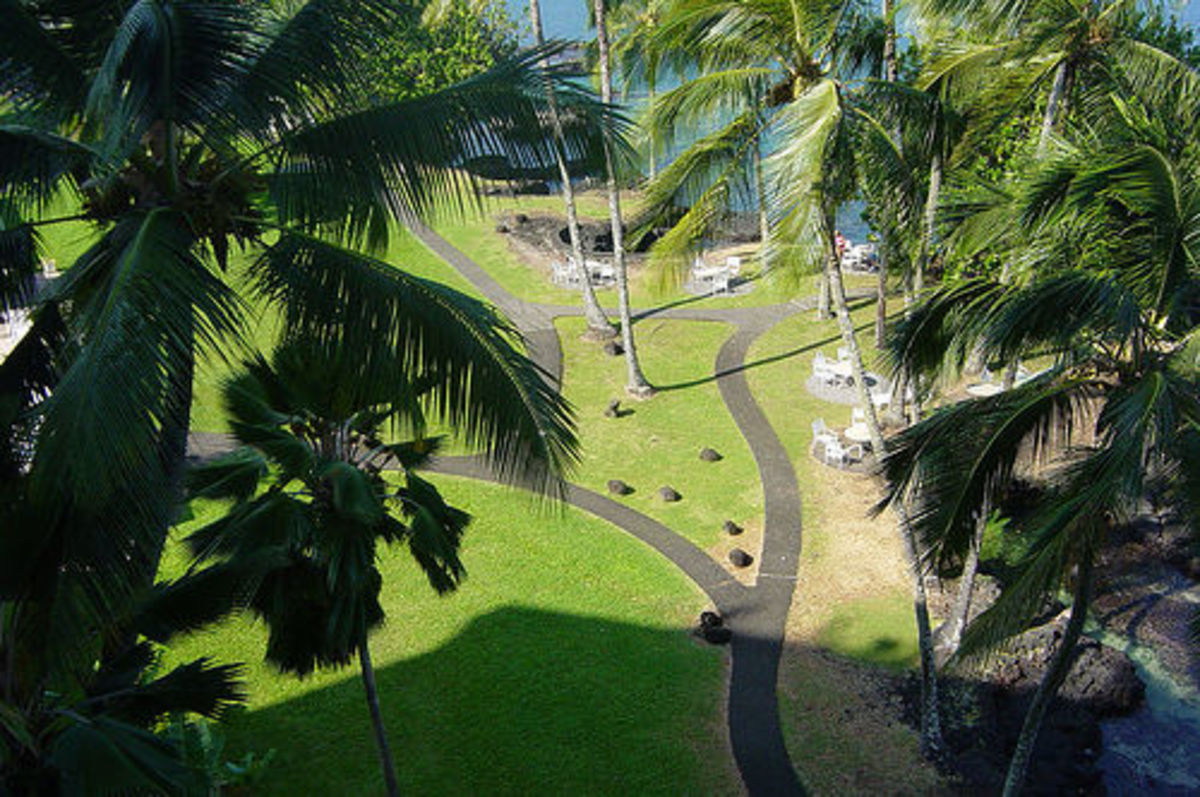 The Naniola Volcano Resort is a beautiful hotel surrounded by the ocean.