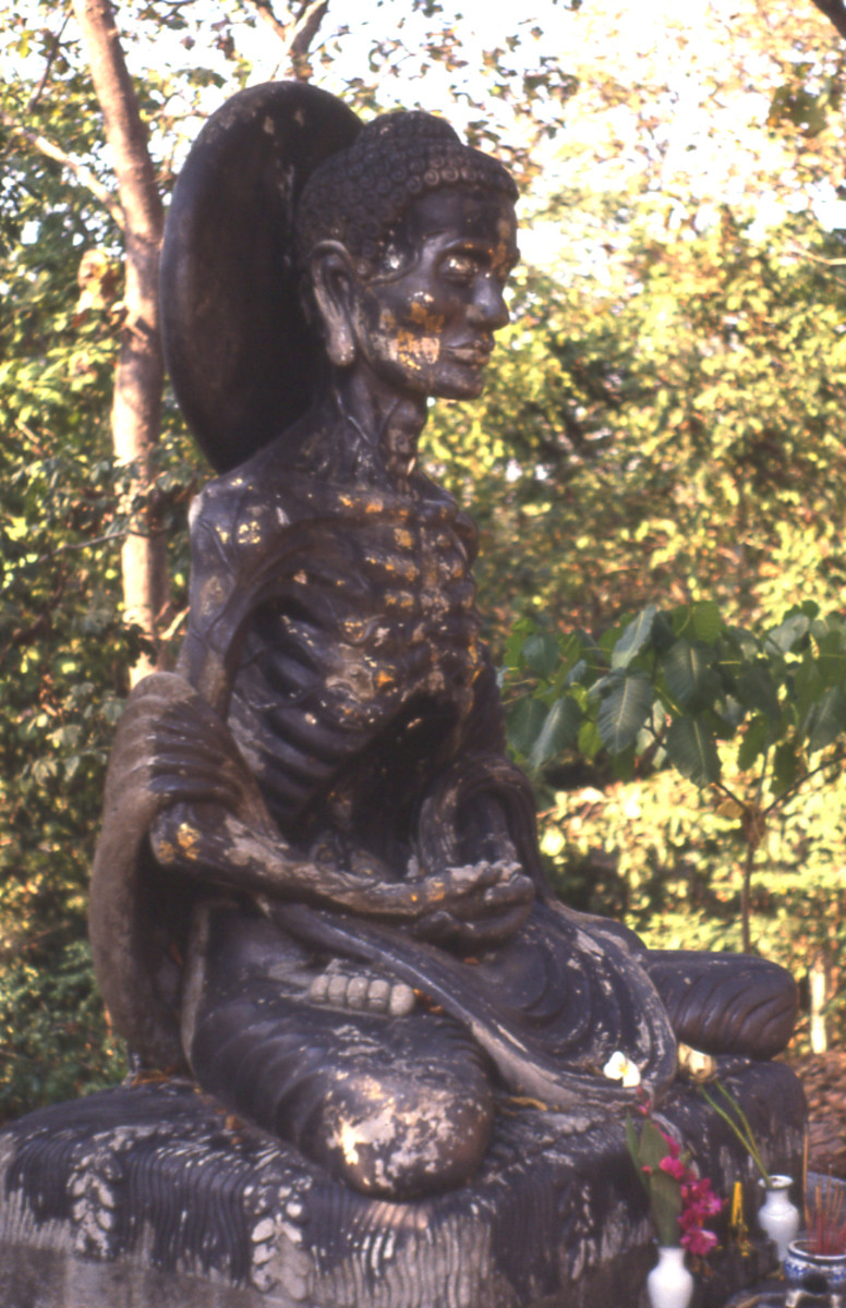Fasting Buddha at U Mong Buddhist temple in Chiangmai.