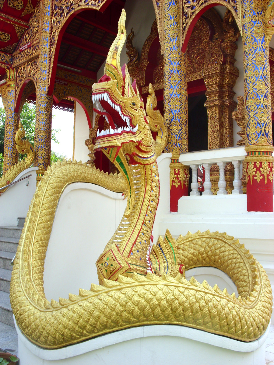 Naga serpent guardian at Wat Dok Eung, Chiang Mai