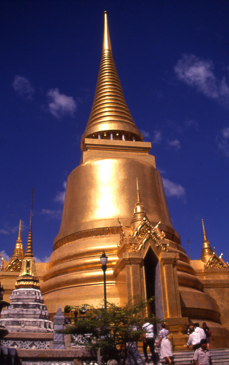 Golden chedi of The Temple of the Emerald Buddha in Bangkok, Thailand