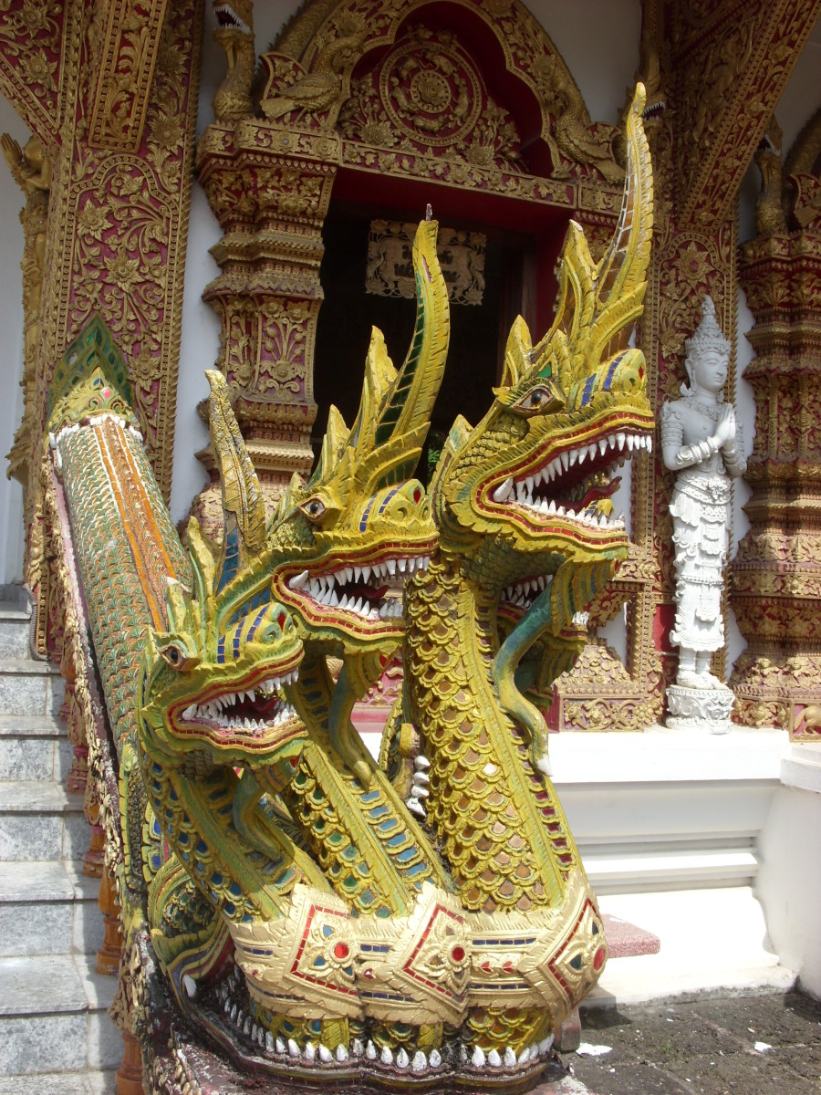 Three-headed Naga at Wat Bupparam in Chiangmai