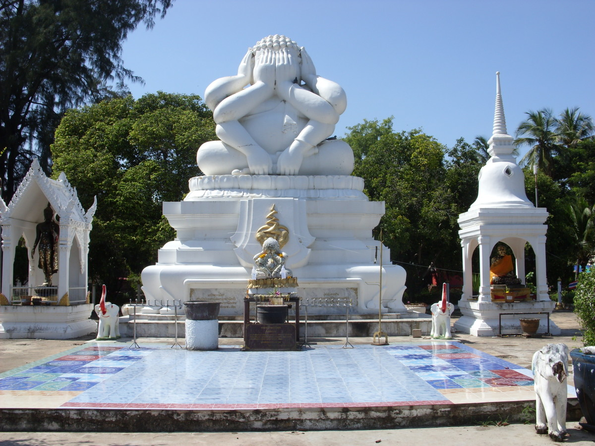 The six armed Buddha image in Cha am depicts the Buddha with hands strategically placed to resist sensual temptation.
