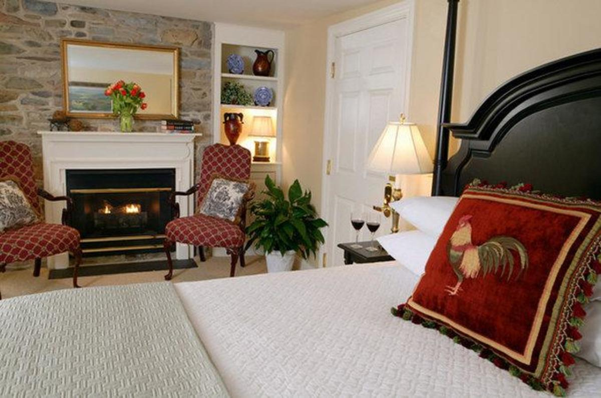 A room a the Lambertville House, a luxurious boutique hotel in a historic building.