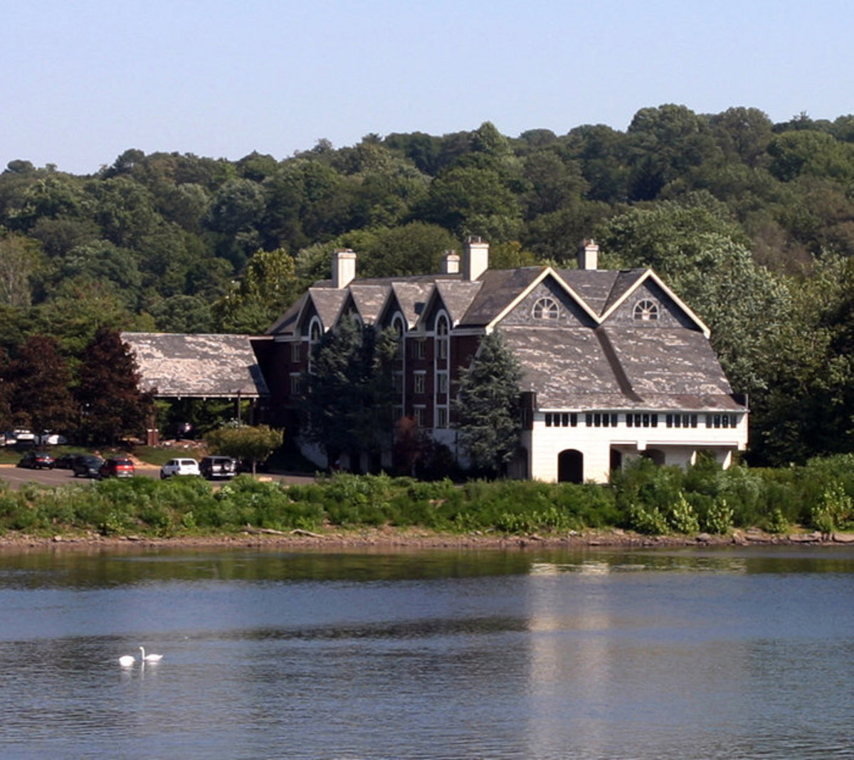 The Inn at Lambertville Station, looking across the Delaware River from New Hope, Pennsylvania