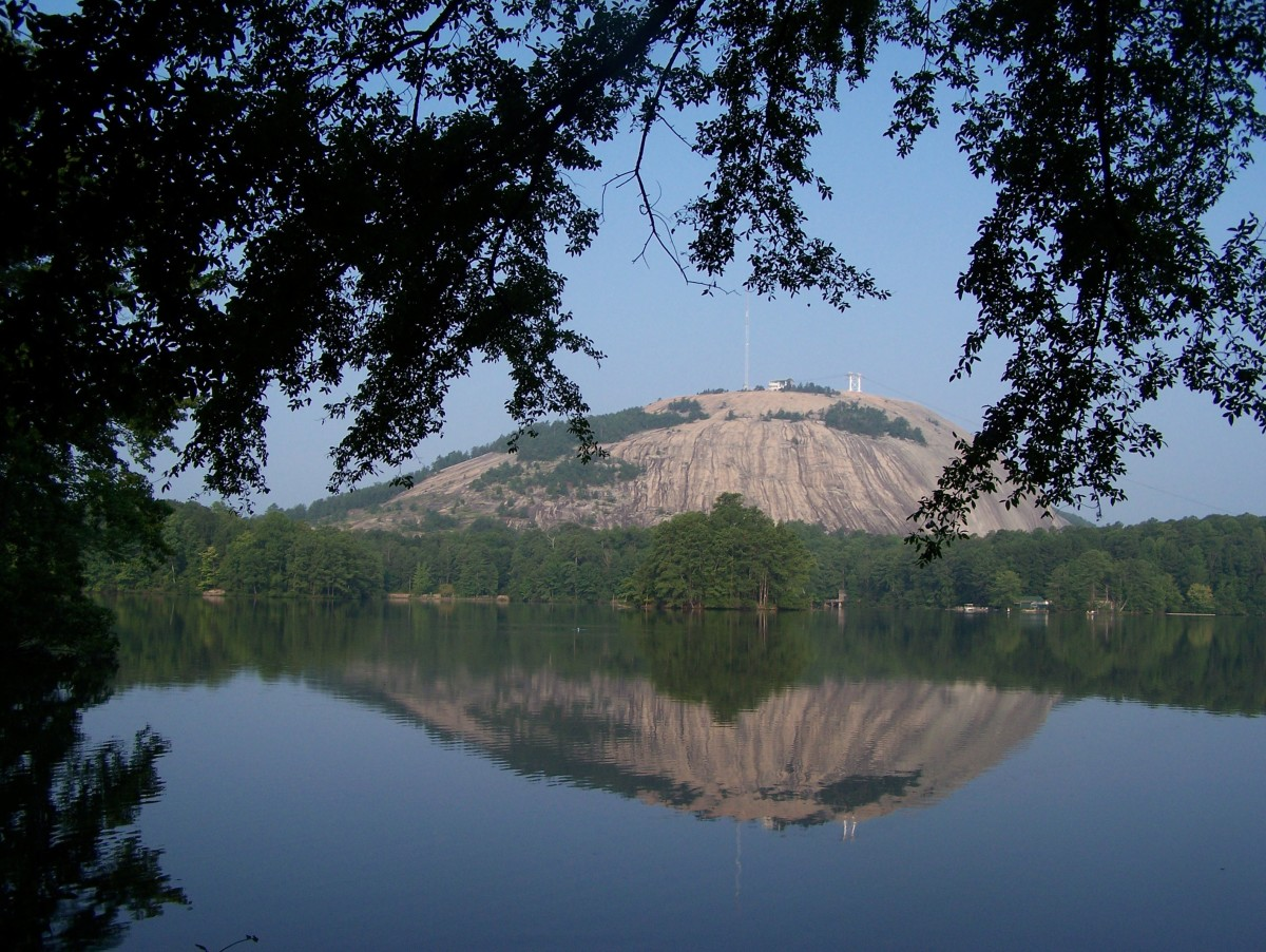View Of Stone Mountain From Our Campsite Across The Lake