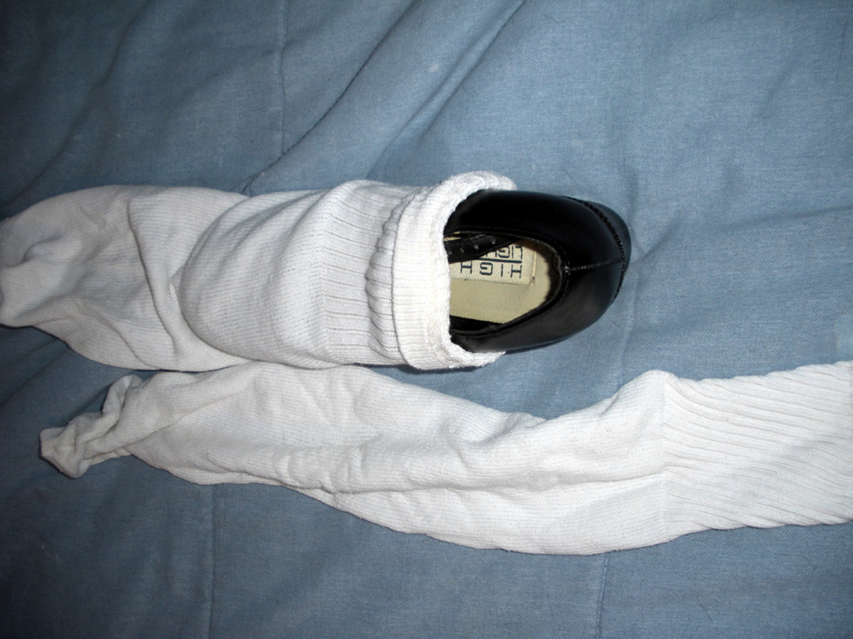 Socks will stretch to fit over the outside of shoes