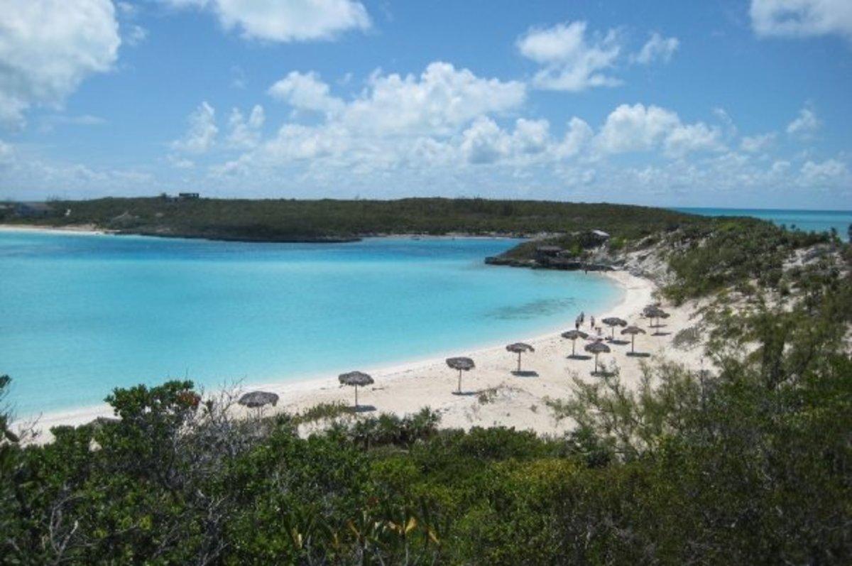 Half Moon Bay beach of Saddleback Cay, Bahamas.