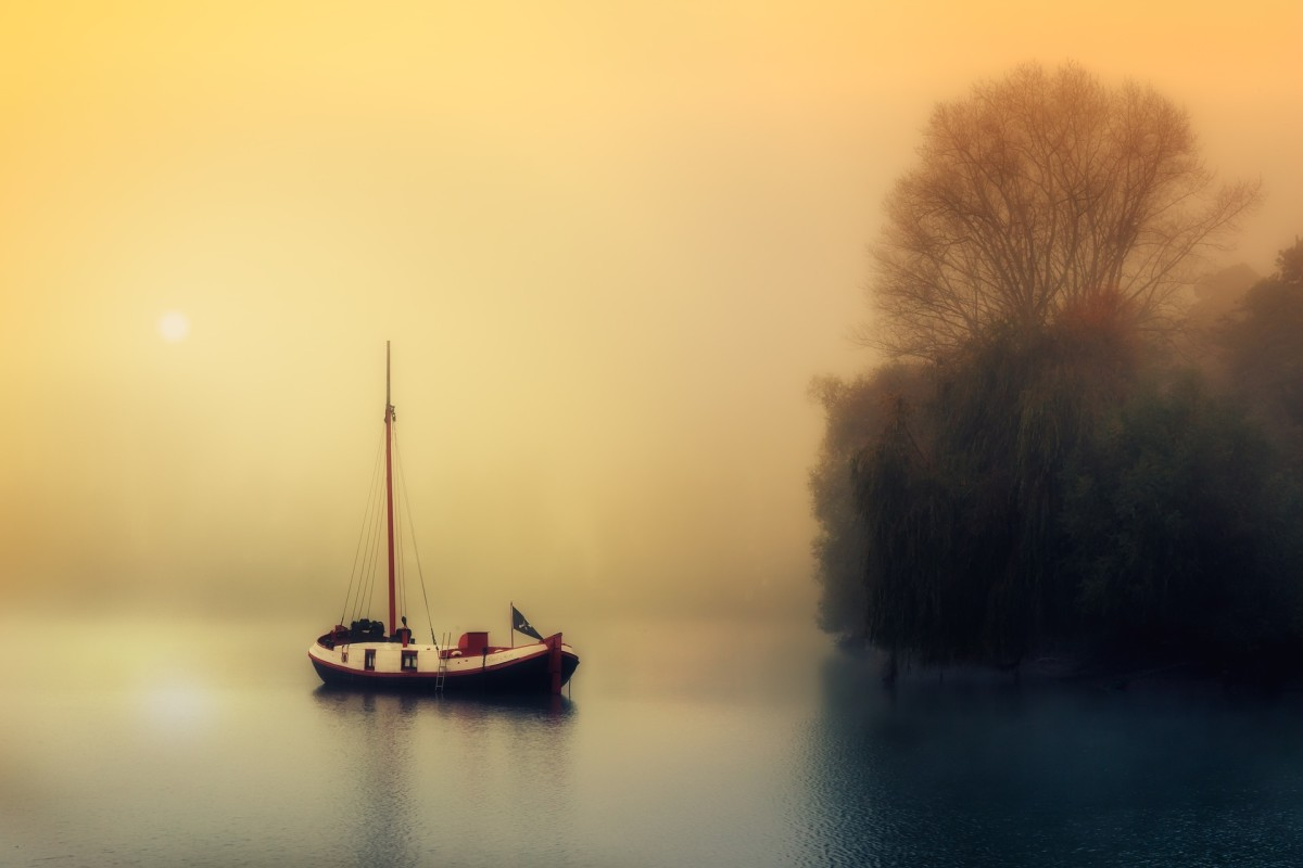 Anchored in a tranquil bay