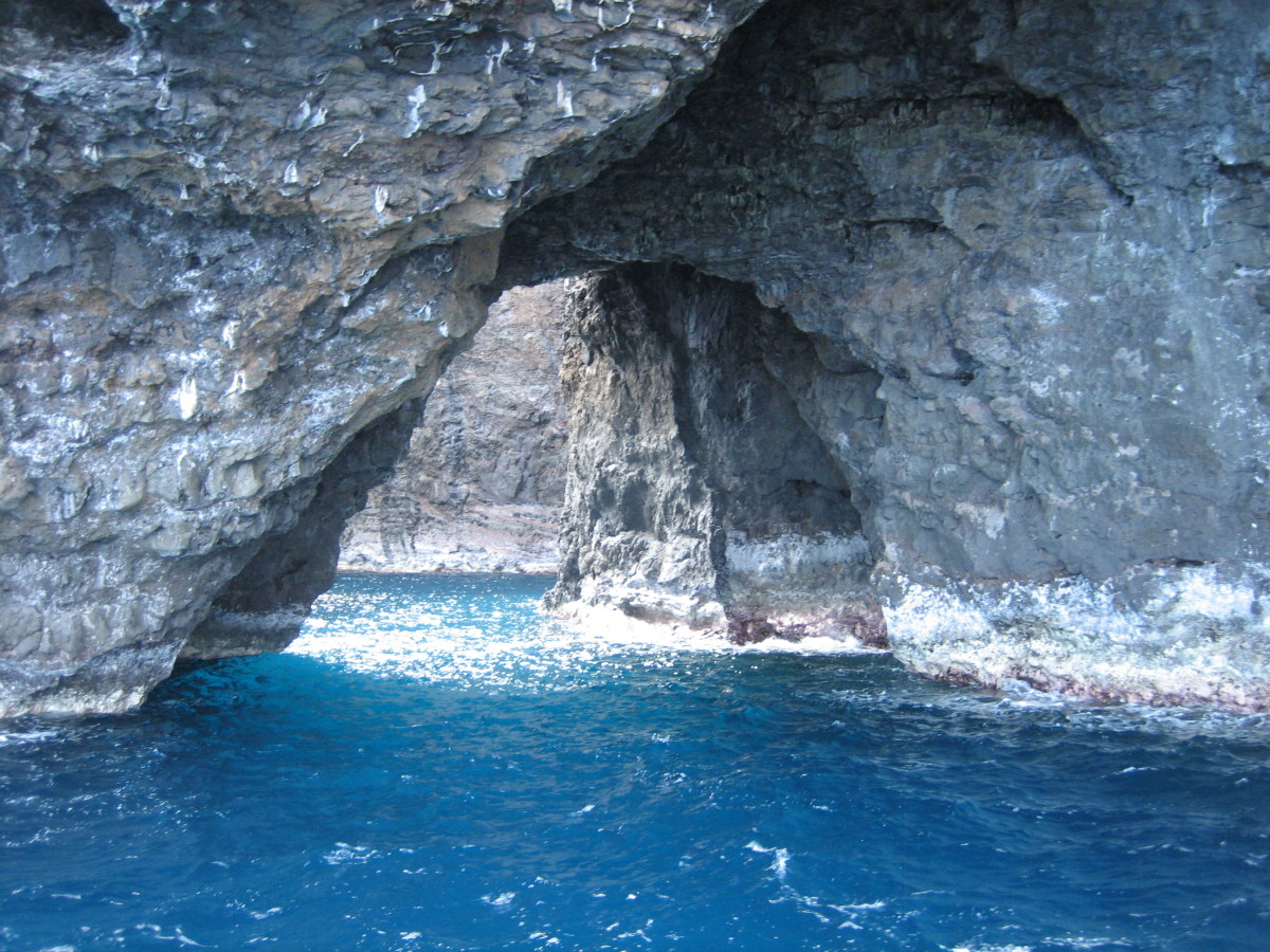 One of several rocky coves carved out by crashing waves along the Napali Coast