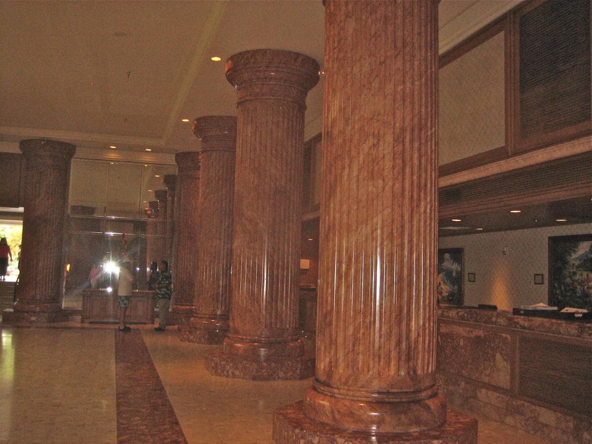 Stunning marble pillars in hotel lobby
