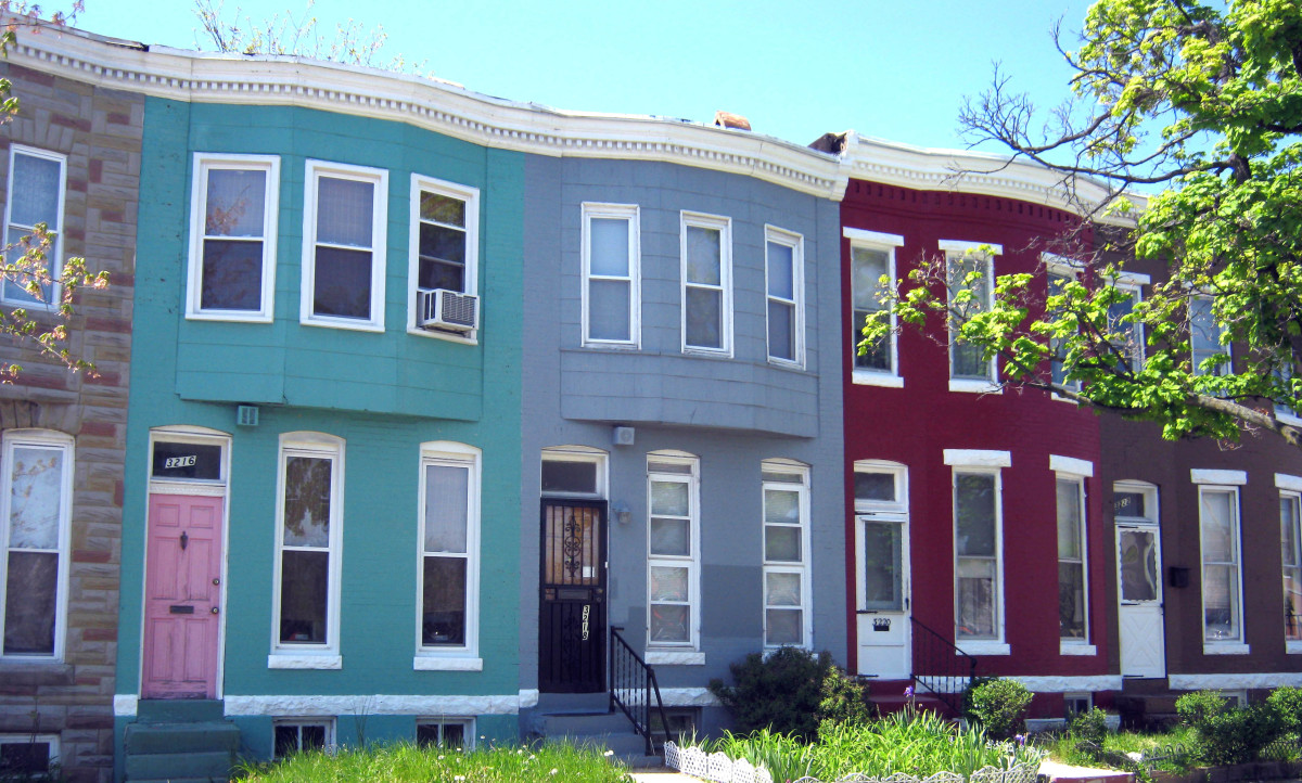 Simple yet attractive 3 bay wide, 2 story rowhouses.