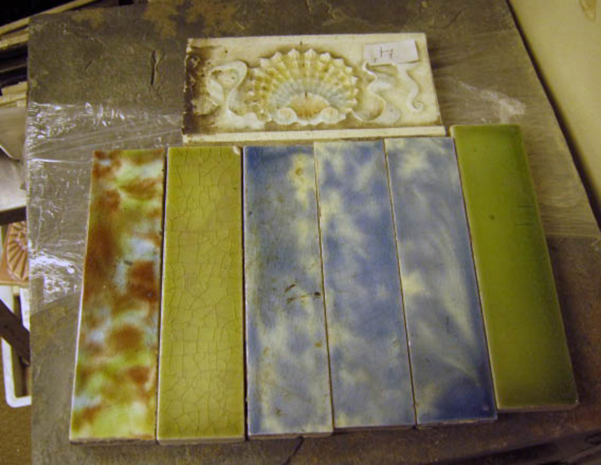 These beautiful old tiles once lined a rowhouse entryway or vestibule.