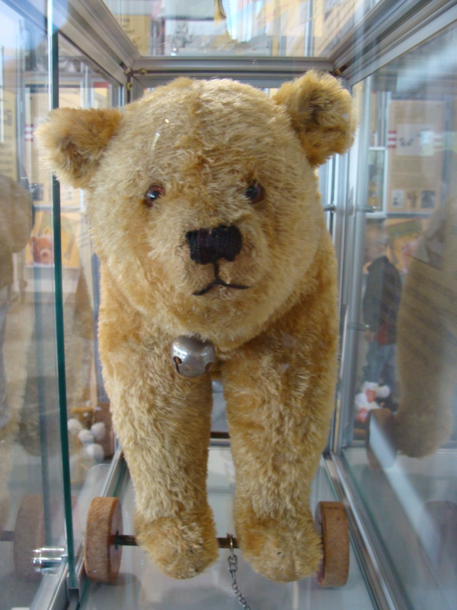 The first bear toys were not plush but were hard toys and were often on wheels.