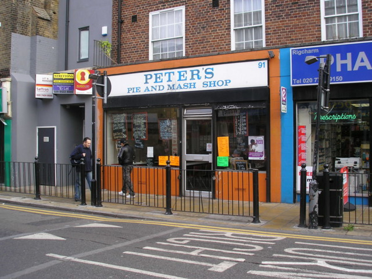 Peter's Pie and Mash Shop, Shadwell, East London.