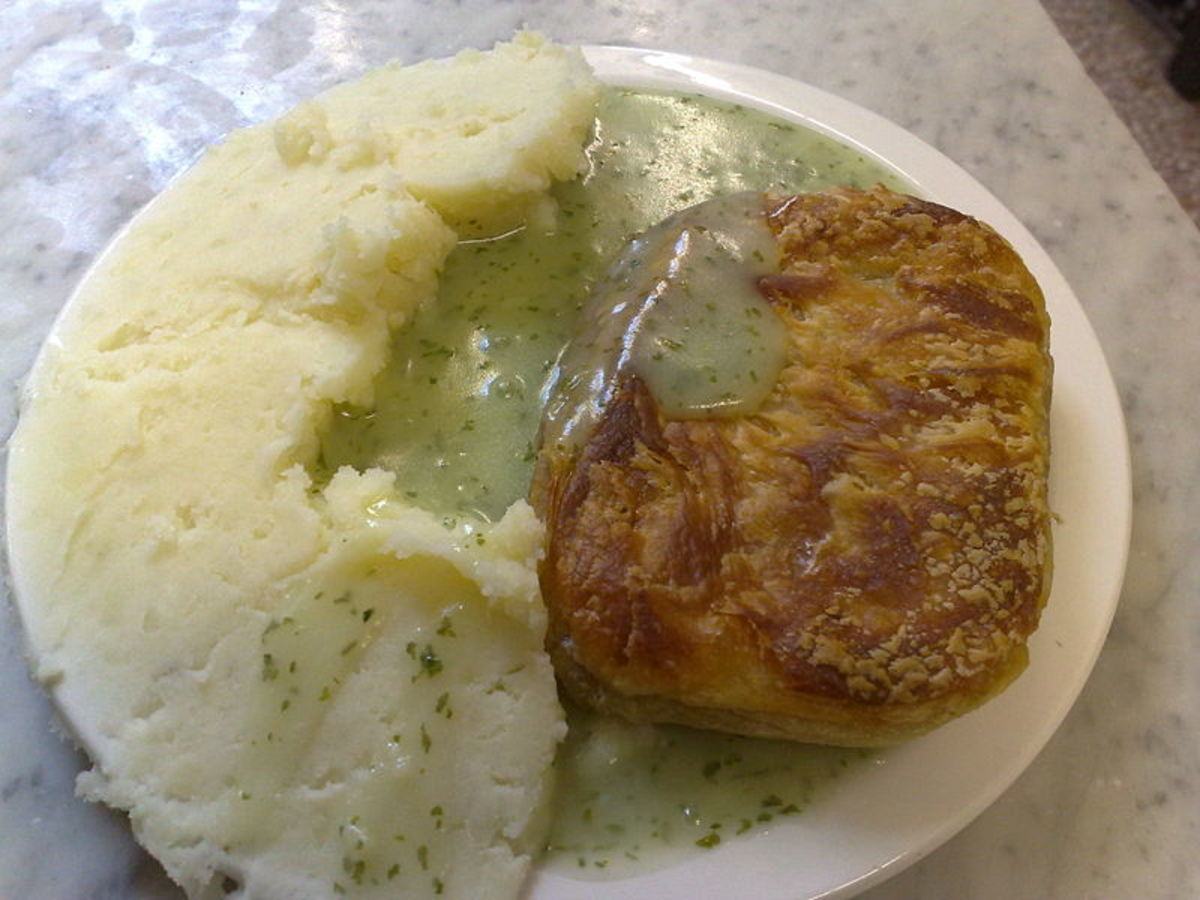 Pie and Mash, traditional Cockney fare.