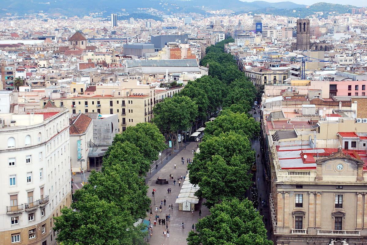 Tree-lined promenade of Las Ramblas in Barcelona