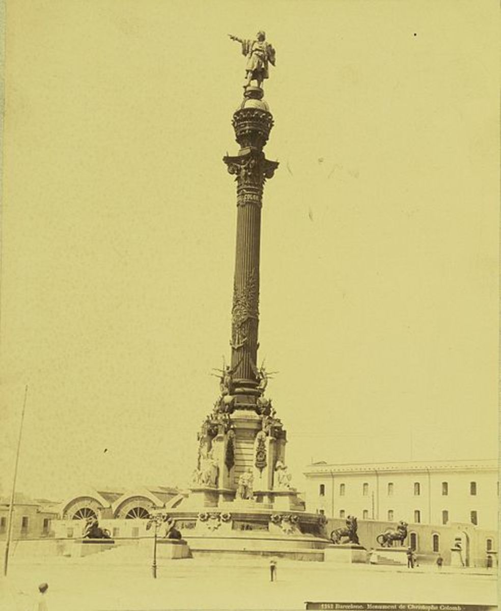 Monument to Christopher Columbus is situated at one end of the Ramblas near the waterfront.