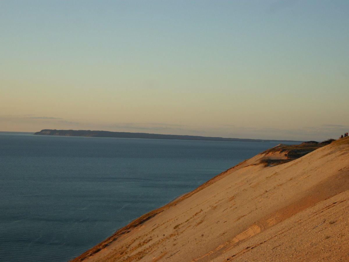 The color of the dunes changes as the sun sets.