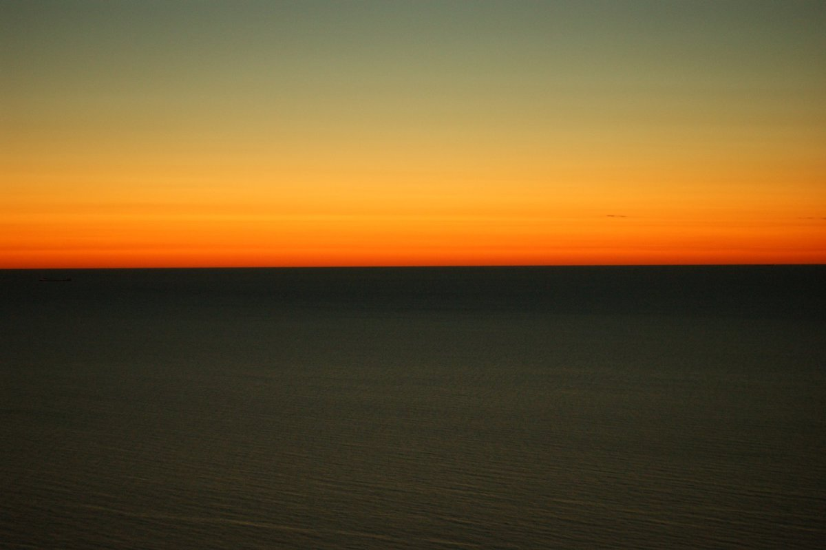 A golden sunset seen from Lake Michigan Overlook.