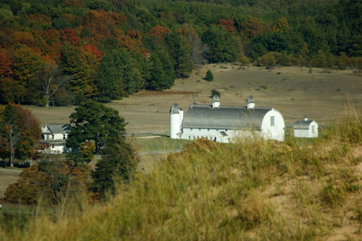 The Historic D. H. Day Farm as seen from the top of the Dune Climb.  The buildings were built in the 1880s and are still privately owned.