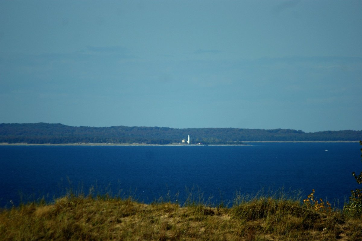 A view of the lighthouse on South Manitou, seven miles west  in Lake Michigan