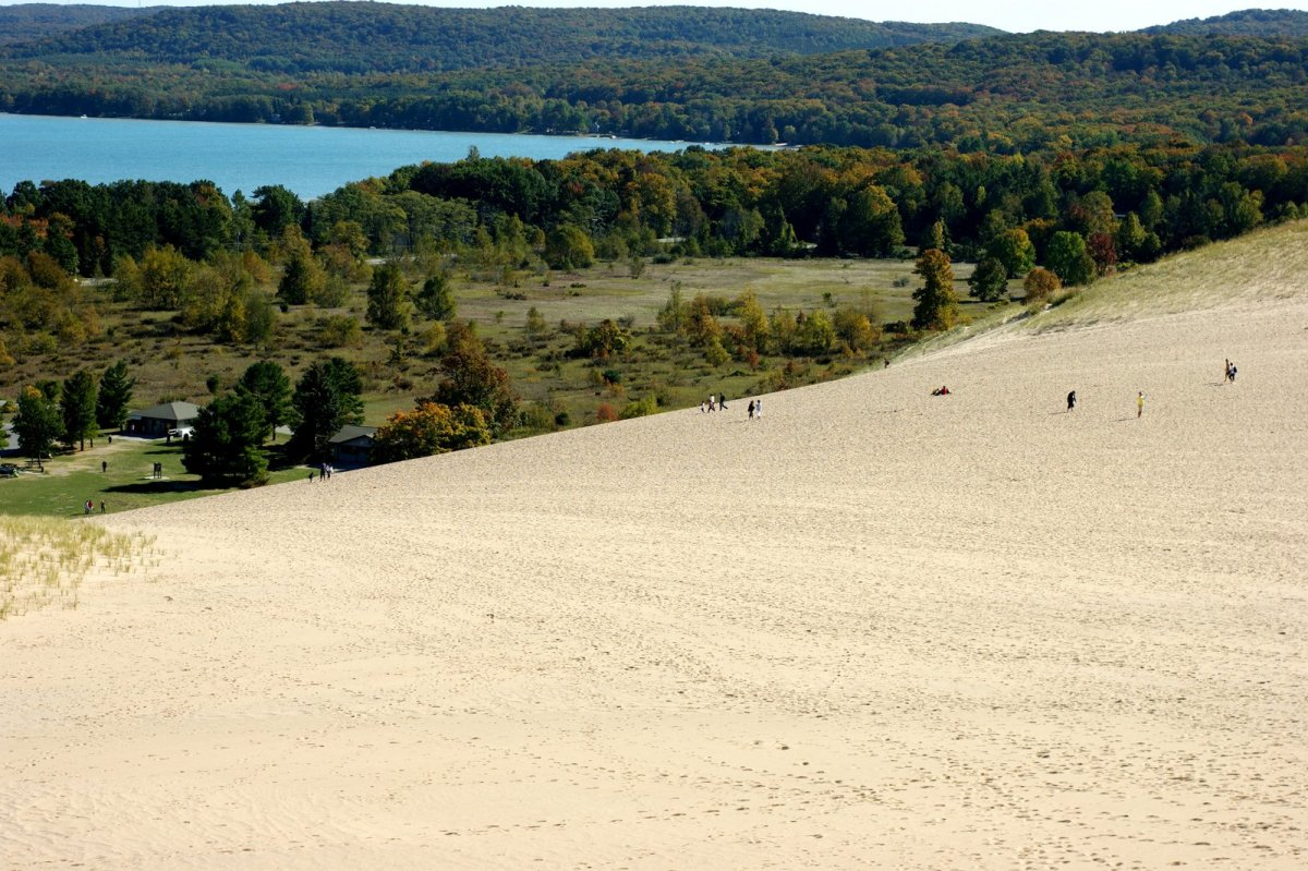 The Dune Climb, from the top, where kids of all ages can play in the sun and sand.