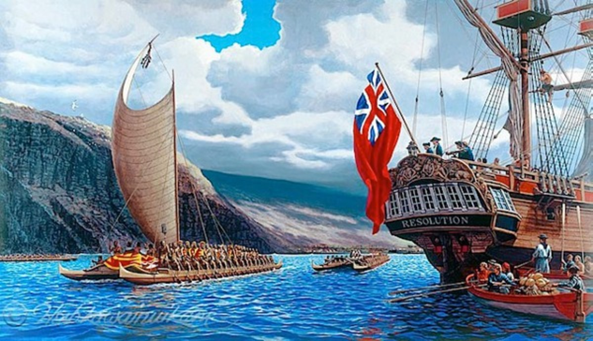 The artist, Herb Kawainui Kane's painting of King Kalaniopu'u welcoming Captain Cook into Kealakekua Bay, 1779.