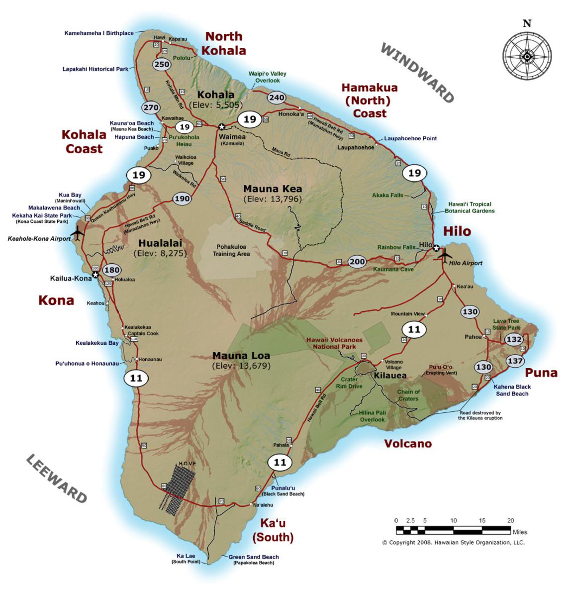 Detailed map of Big Island of Hawai'i